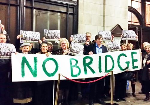 Protesters against Nine Elms Bridge outside Westminster Council meeting
