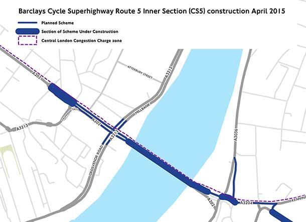 Cycle Superhighway CS5 initial works 2015