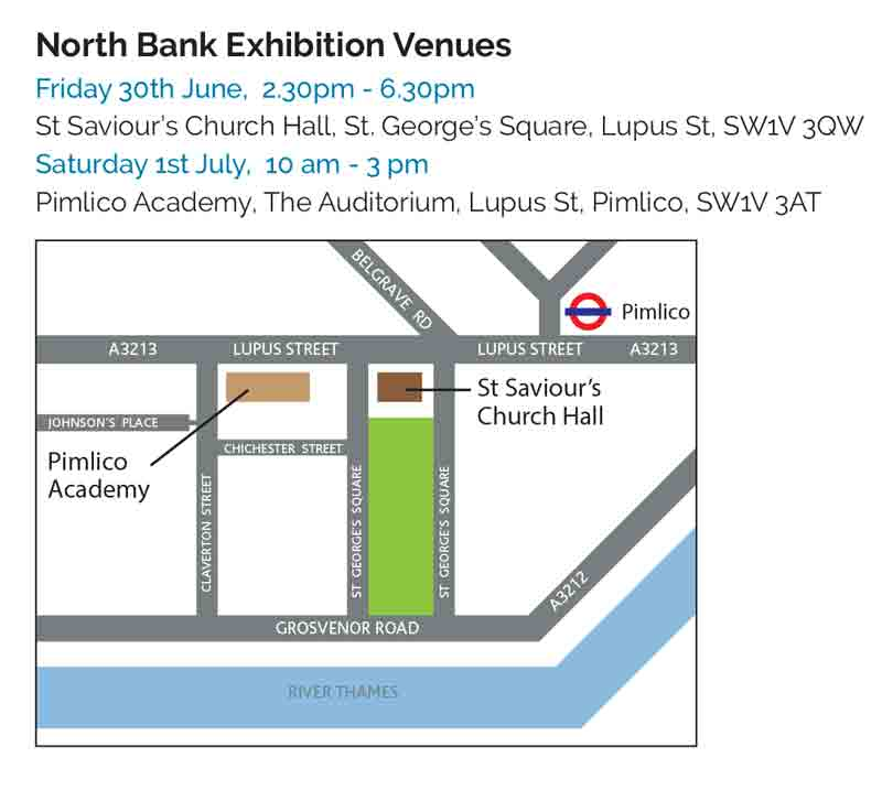 Directions to the Nine Elms Cycle Bridge Exhibitions, June-July 2017