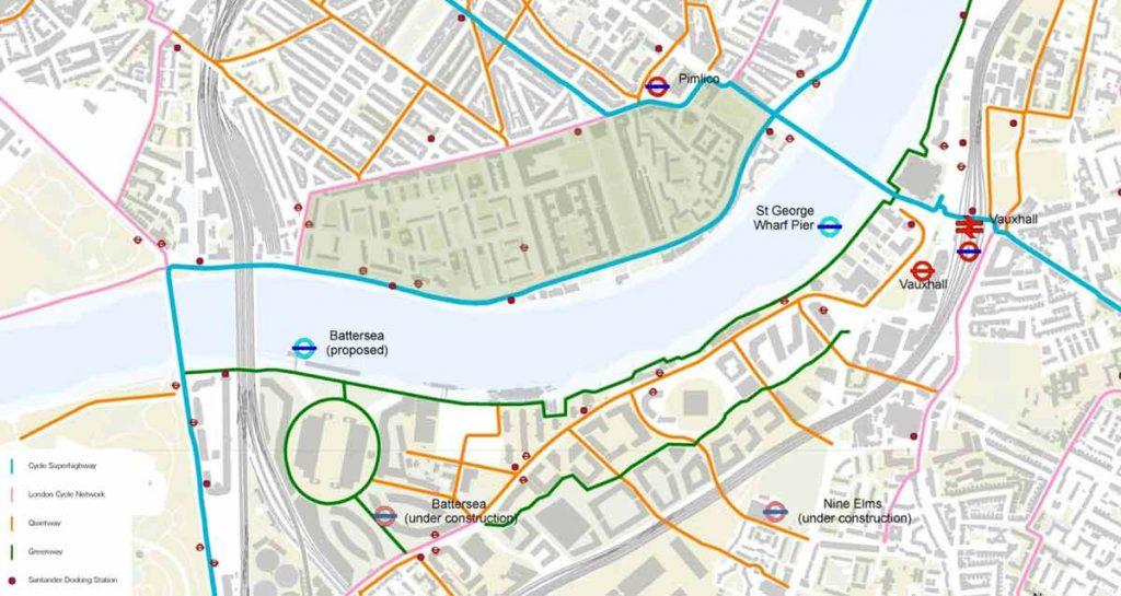 Nine Elms Cycle Bridge Map showing residential blocks