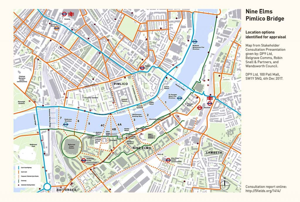 Nine Elms Cycle Bridge locations map