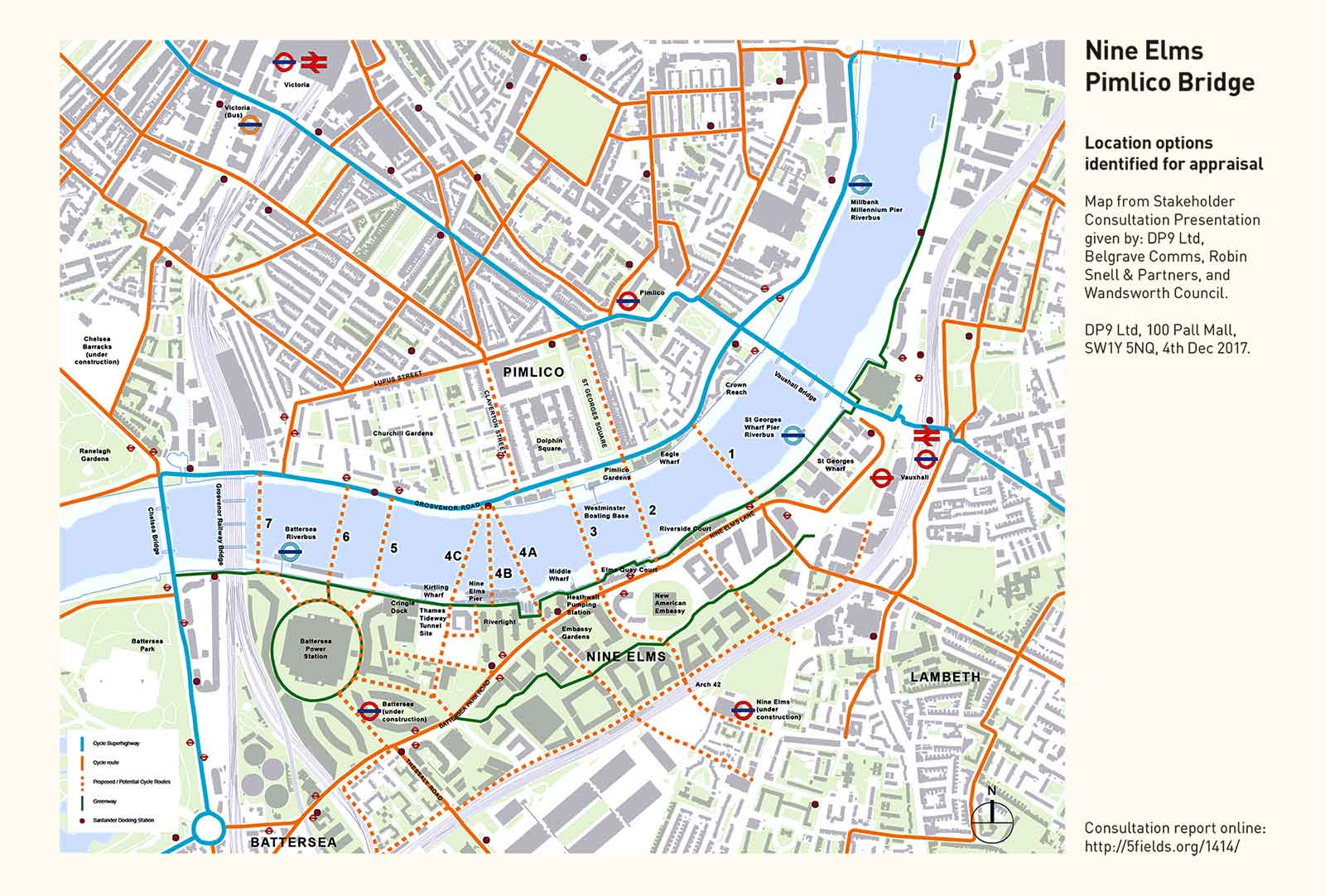 Nine Elms Cycle Bridge Failed To Connect 5 Fields - Us-embassy-london-map