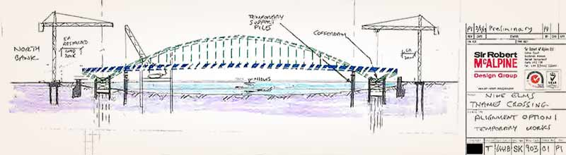 Nine Elms cycle bridge: Arch design used for 2014 costings (NEPB Feasibility Study)