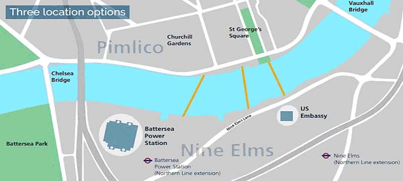 Nine Elms cycle bridge consultation: map of 3 locations NEPB VNEB-OA